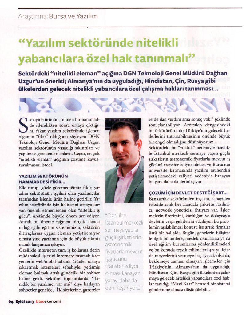 BTSO Ekonomi Dergisi - Eylül 2013